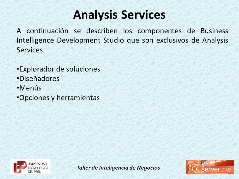 Taller de Inteligencia de Negocios A continuación se describen los componentes de Business Intelligence Development Studio que son exclusivos de Analy
