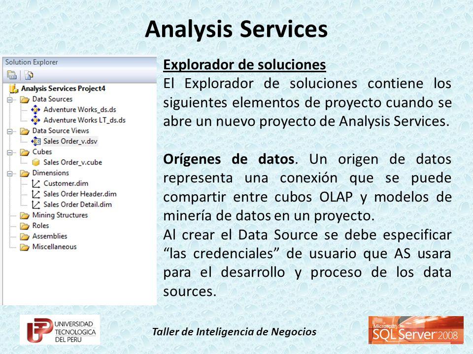 Taller de Inteligencia de Negocios Explorador de soluciones Orígenes de datos.