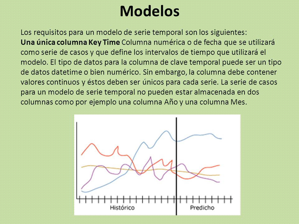 Los requisitos para un modelo de serie temporal son los siguientes: Una única columna Key Time Columna numérica o de fecha que se utilizará como serie