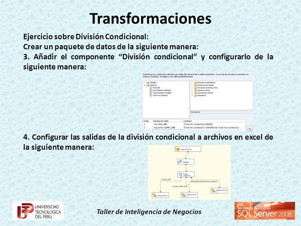 Taller de Inteligencia de Negocios Ejercicio sobre División Condicional: Crear un paquete de datos de la siguiente manera: 3. Añadir el componente Div
