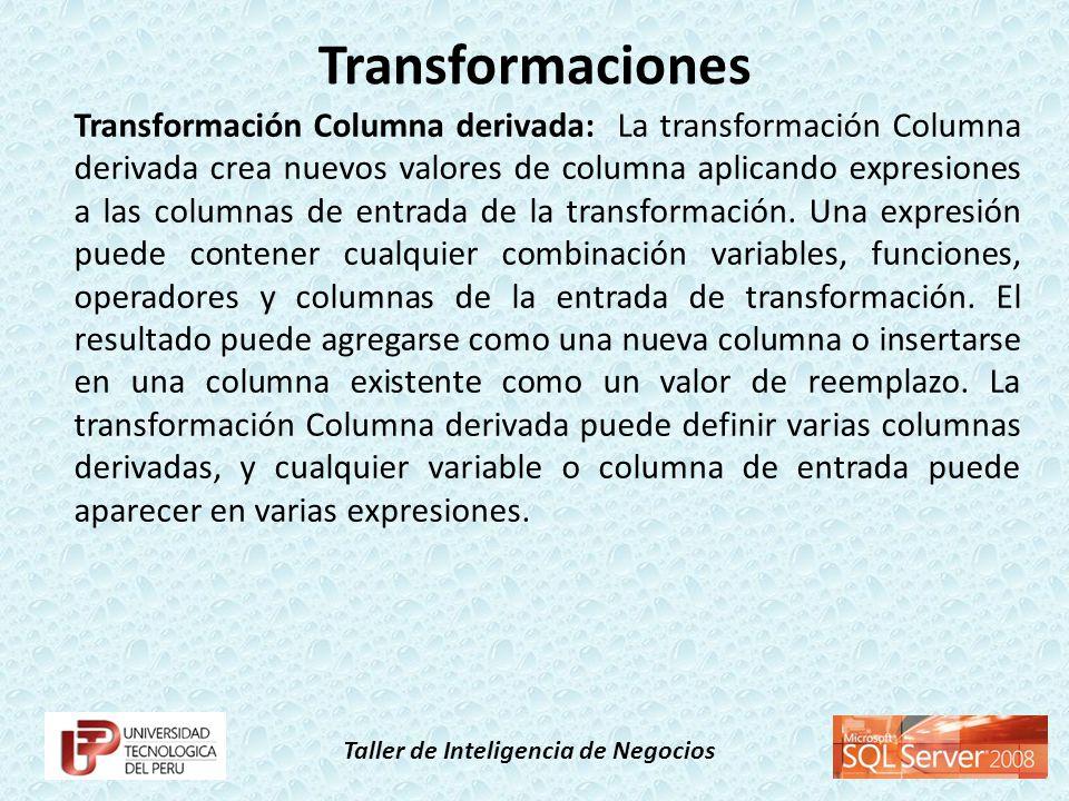Taller de Inteligencia de Negocios Transformación Columna derivada: La transformación Columna derivada crea nuevos valores de columna aplicando expres