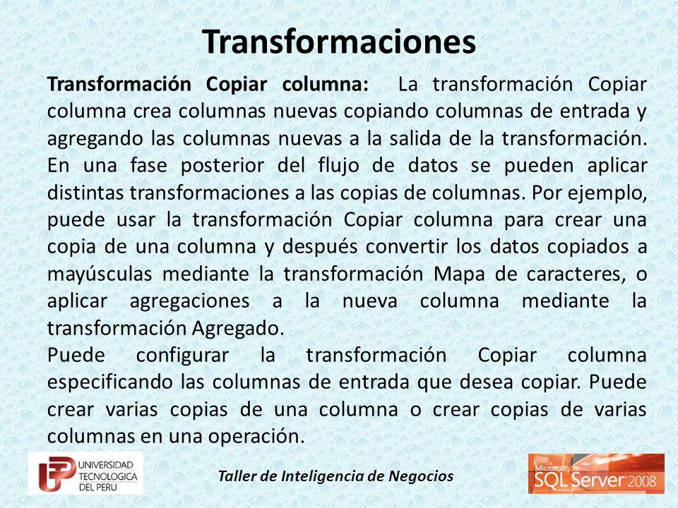 Taller de Inteligencia de Negocios Transformación Copiar columna: La transformación Copiar columna crea columnas nuevas copiando columnas de entrada y