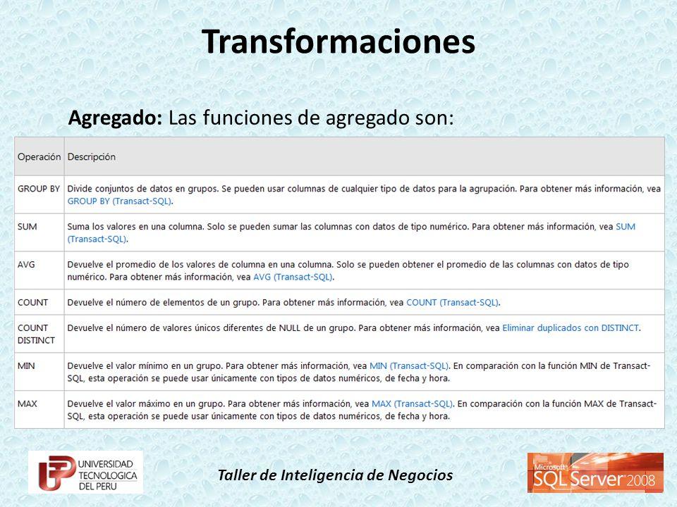 Taller de Inteligencia de Negocios Agregado: Las funciones de agregado son: Transformaciones