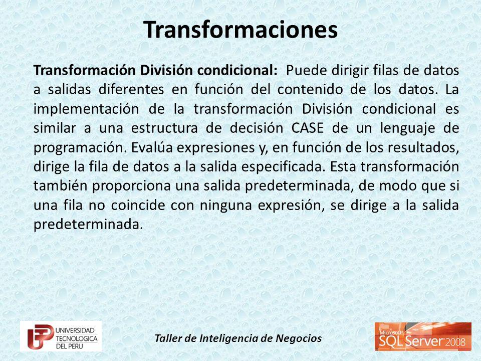Taller de Inteligencia de Negocios Transformación División condicional: Puede dirigir filas de datos a salidas diferentes en función del contenido de