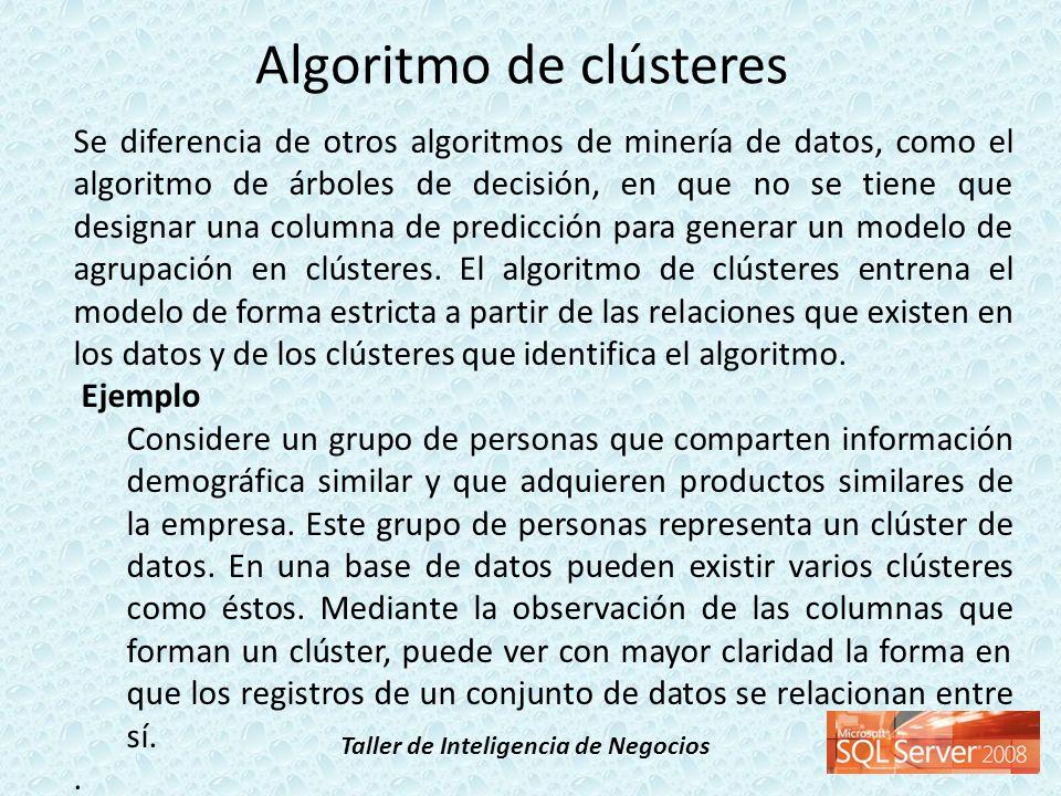 Taller de Inteligencia de Negocios Se diferencia de otros algoritmos de minería de datos, como el algoritmo de árboles de decisión, en que no se tiene