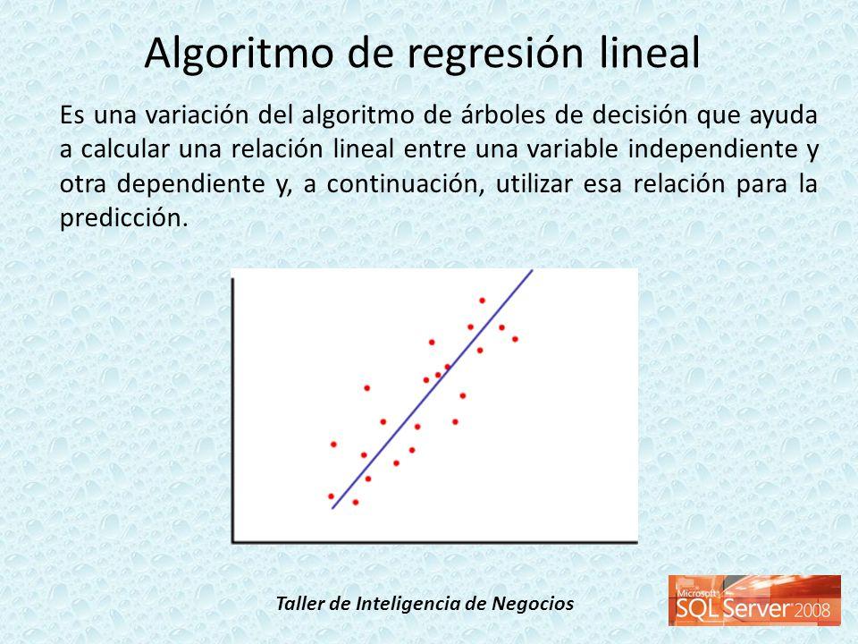 Taller de Inteligencia de Negocios Es una variación del algoritmo de árboles de decisión que ayuda a calcular una relación lineal entre una variable i