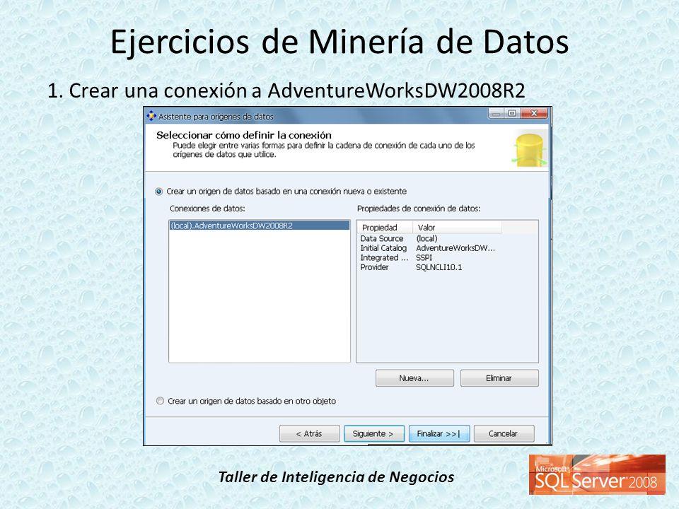 Taller de Inteligencia de Negocios 1. Crear una conexión a AdventureWorksDW2008R2 Ejercicios de Minería de Datos