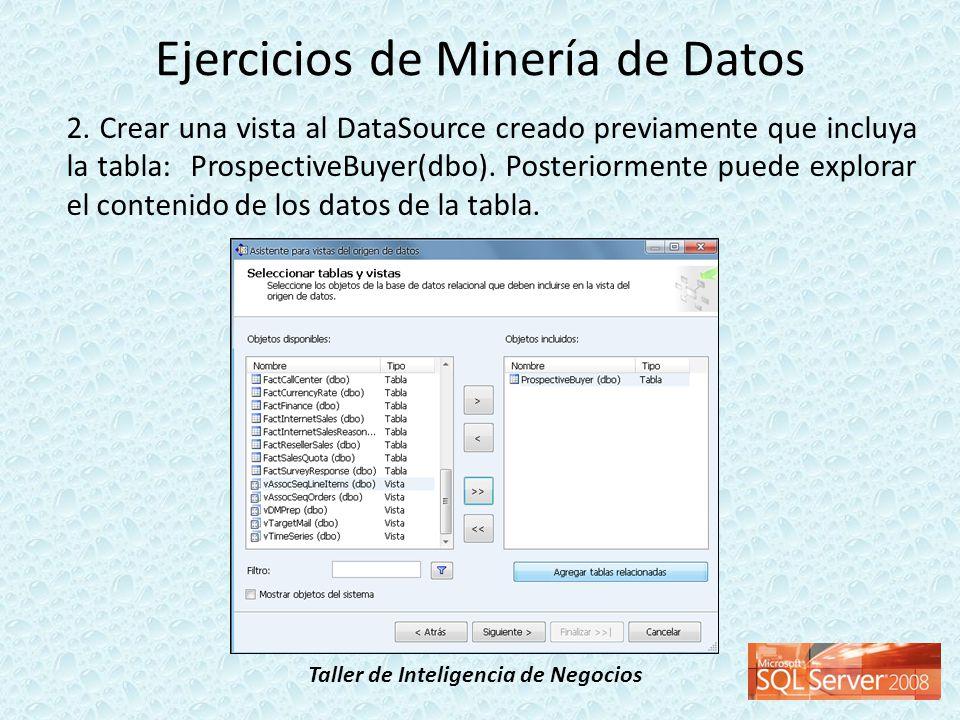 Taller de Inteligencia de Negocios 2. Crear una vista al DataSource creado previamente que incluya la tabla: ProspectiveBuyer(dbo). Posteriormente pue