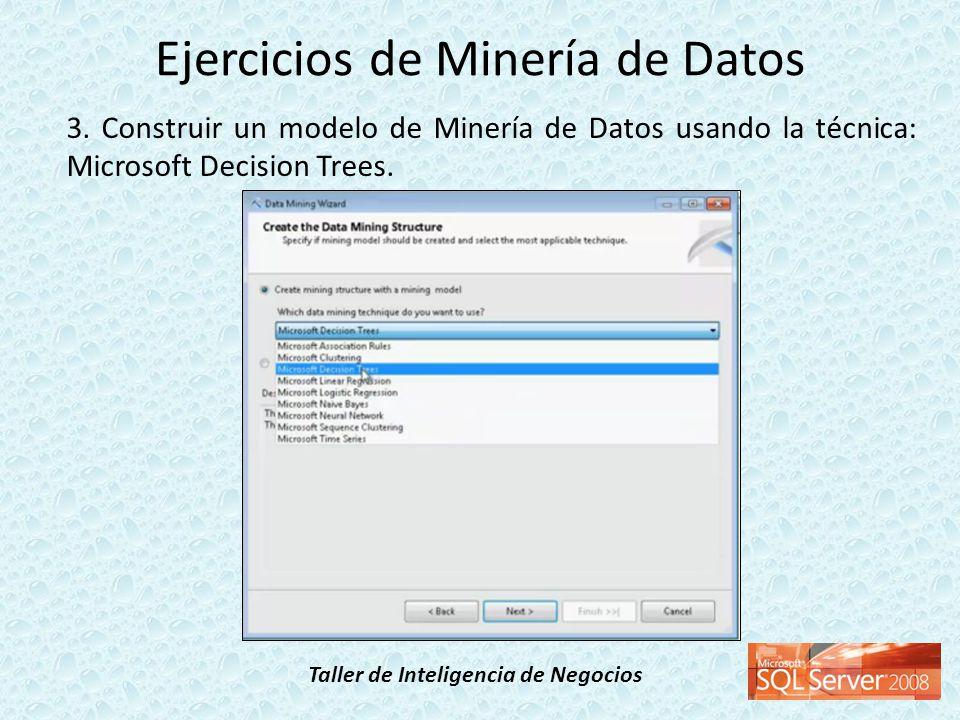Taller de Inteligencia de Negocios 3. Construir un modelo de Minería de Datos usando la técnica: Microsoft Decision Trees. Ejercicios de Minería de Da