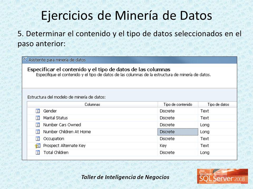 Taller de Inteligencia de Negocios 5. Determinar el contenido y el tipo de datos seleccionados en el paso anterior: Ejercicios de Minería de Datos