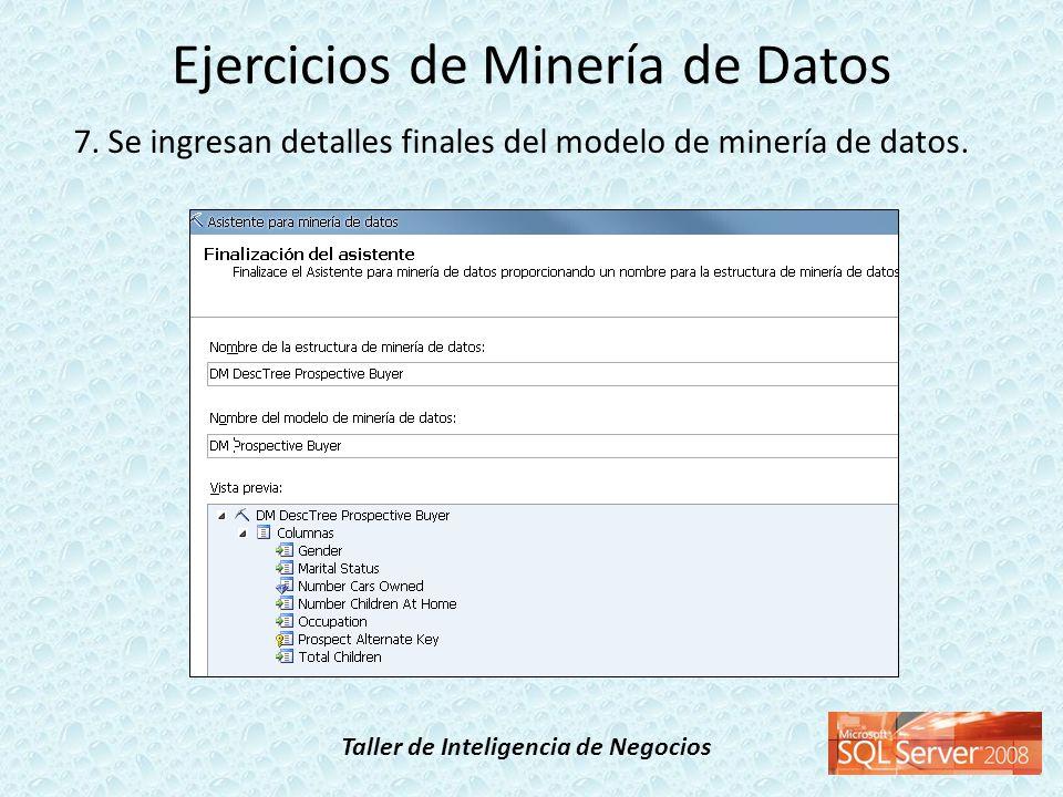 Taller de Inteligencia de Negocios 7. Se ingresan detalles finales del modelo de minería de datos. Ejercicios de Minería de Datos