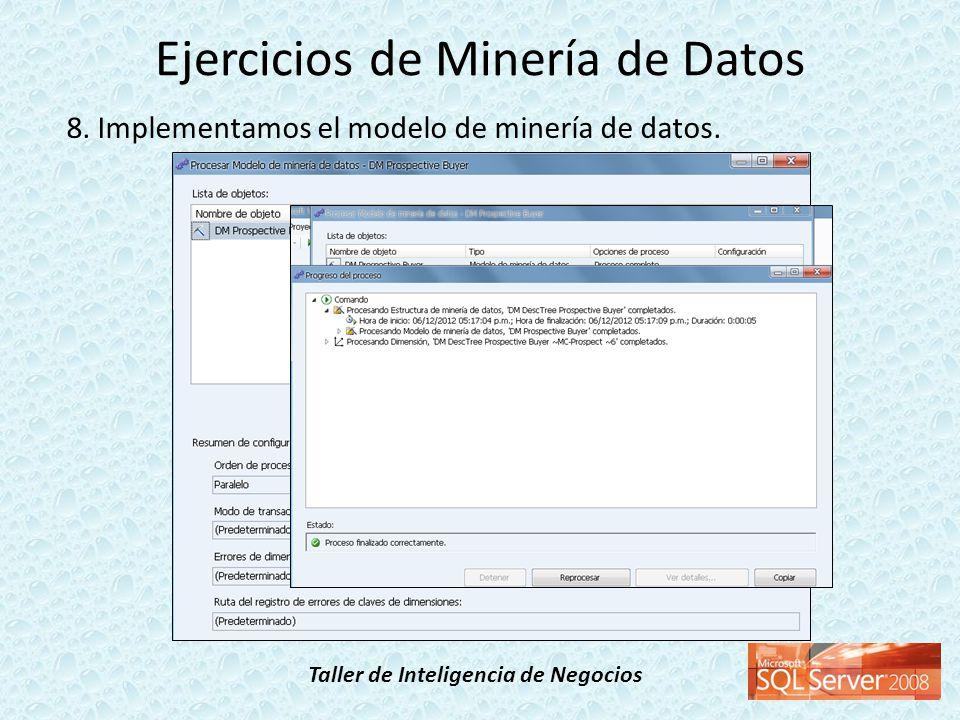 Taller de Inteligencia de Negocios 8. Implementamos el modelo de minería de datos. Ejercicios de Minería de Datos