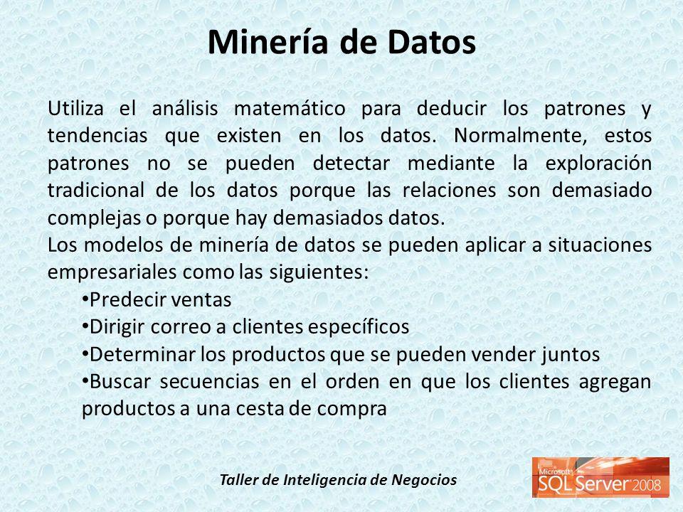 Taller de Inteligencia de Negocios Cada proyecto de minería de datos contiene los cuatro tipos siguientes de objetos: orígenes de datos; vistas del origen de datos, que se basan en los orígenes de datos; estructuras de minería de datos, que definen cómo se utilizan los datos en el modelo; y modelos de minería de datos, que crean y almacenan los patrones.
