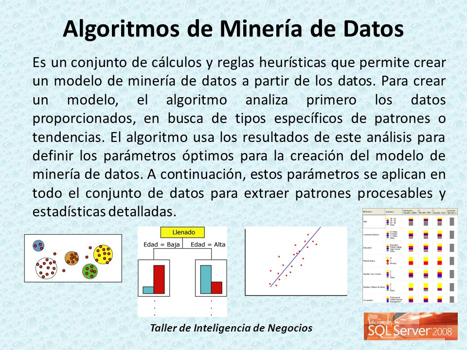 Taller de Inteligencia de Negocios Analysis Services incluye los siguientes tipos de algoritmos: Algoritmos de clasificación, que predicen una o más variables discretas, basándose en otros atributos del conjunto de datos.