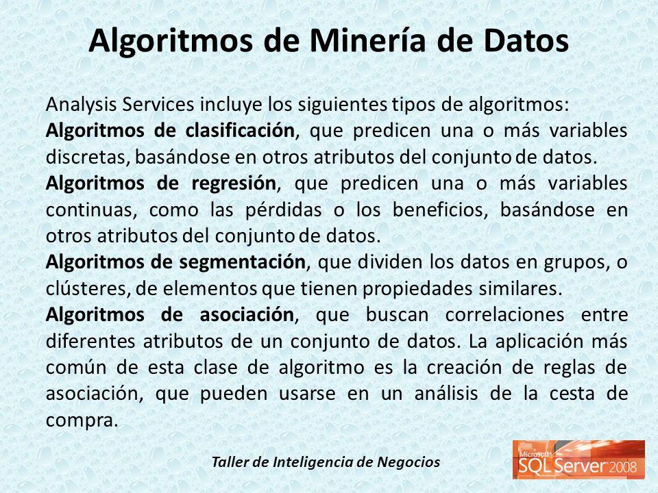 Taller de Inteligencia de Negocios Analysis Services incluye los siguientes tipos (continuación): Algoritmos de análisis de secuencias, que resumen secuencias o episodios frecuentes en los datos, como un flujo de rutas web.
