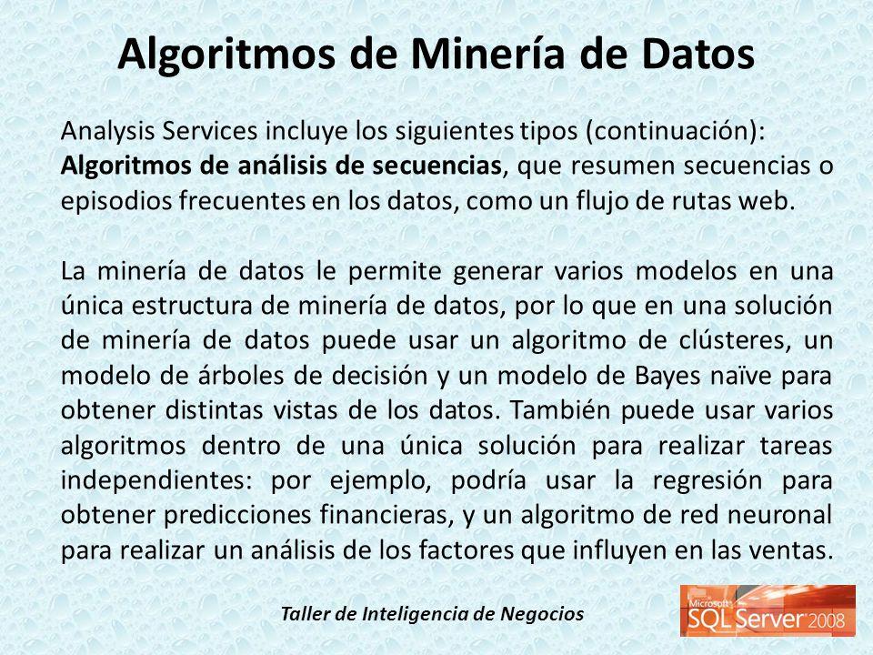 Taller de Inteligencia de Negocios Analysis Services incluye los siguientes tipos (continuación): Algoritmos de análisis de secuencias, que resumen se