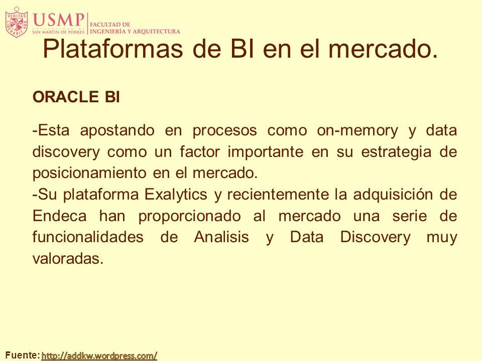 ORACLE BI -Esta apostando en procesos como on-memory y data discovery como un factor importante en su estrategia de posicionamiento en el mercado. -Su