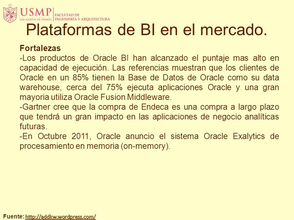 Fortalezas -Los productos de Oracle BI han alcanzado el puntaje mas alto en capacidad de ejecución. Las referencias muestran que los clientes de Oracl