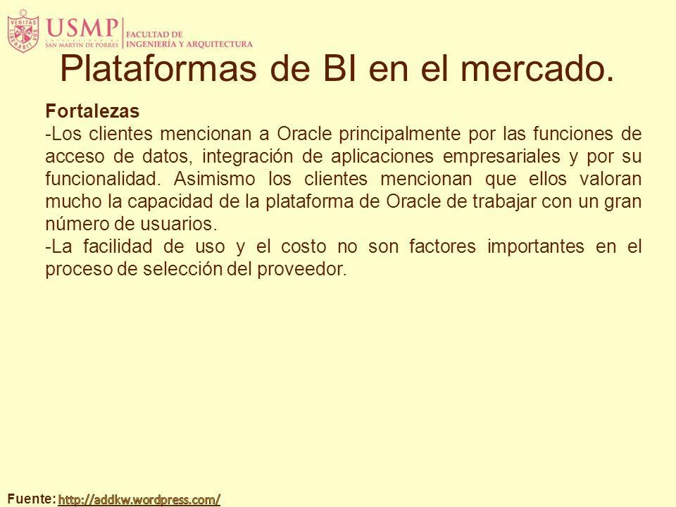 Fortalezas -Los clientes mencionan a Oracle principalmente por las funciones de acceso de datos, integración de aplicaciones empresariales y por su fu