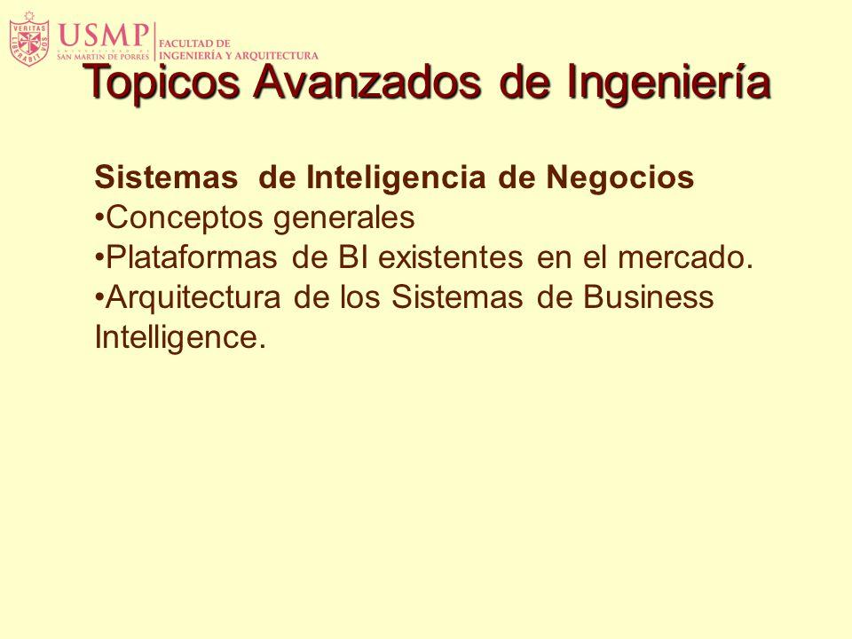Sistemas de Inteligencia de Negocios Conceptos generales Plataformas de BI existentes en el mercado. Arquitectura de los Sistemas de Business Intellig