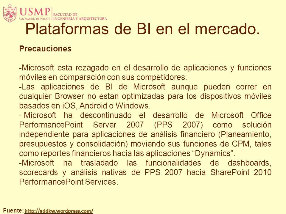 Precauciones -Microsoft esta rezagado en el desarrollo de aplicaciones y funciones móviles en comparación con sus competidores. -Las aplicaciones de B
