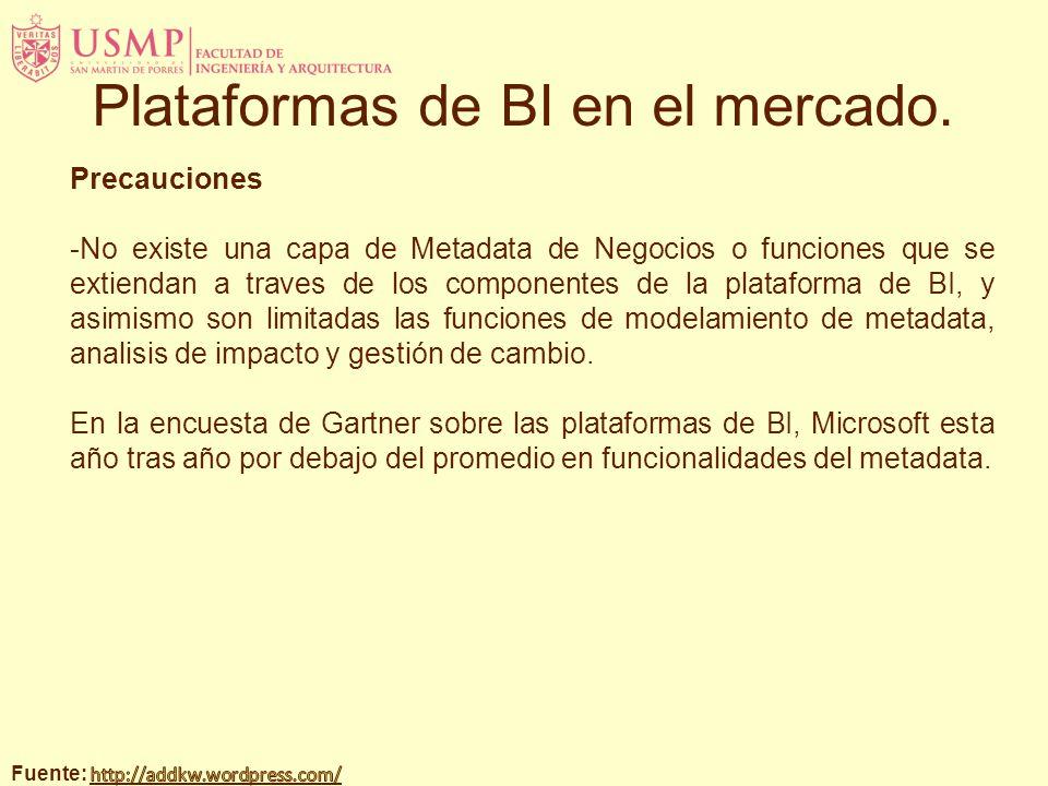 Precauciones -No existe una capa de Metadata de Negocios o funciones que se extiendan a traves de los componentes de la plataforma de BI, y asimismo s