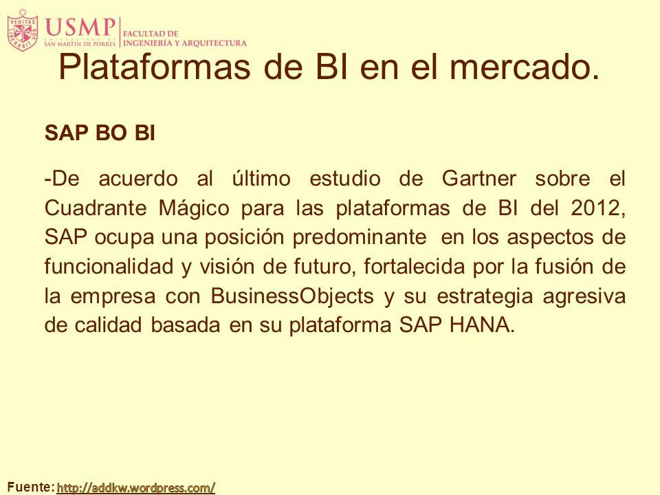 SAP BO BI -De acuerdo al último estudio de Gartner sobre el Cuadrante Mágico para las plataformas de BI del 2012, SAP ocupa una posición predominante