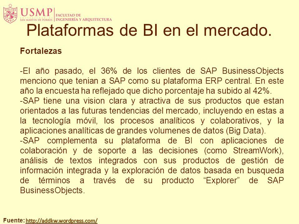 Fortalezas -El año pasado, el 36% de los clientes de SAP BusinessObjects menciono que tenian a SAP como su plataforma ERP central. En este año la encu