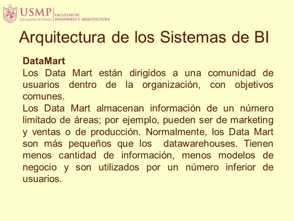 DataMart Los Data Mart están dirigidos a una comunidad de usuarios dentro de la organización, con objetivos comunes. Los Data Mart almacenan informaci