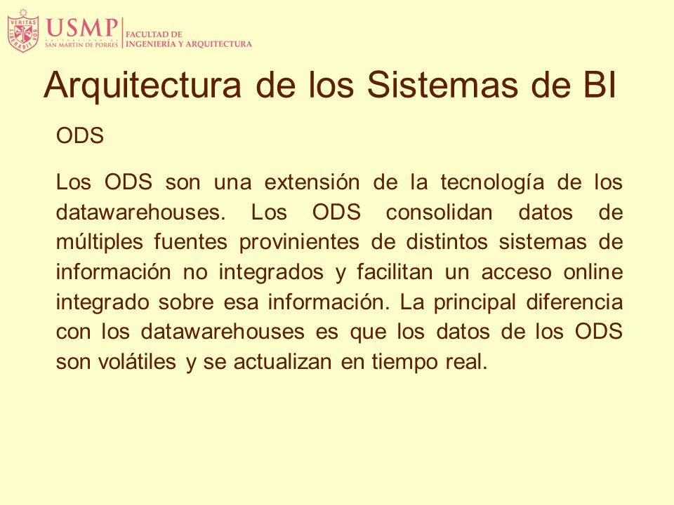 ODS Los ODS son una extensión de la tecnología de los datawarehouses. Los ODS consolidan datos de múltiples fuentes provinientes de distintos sistemas