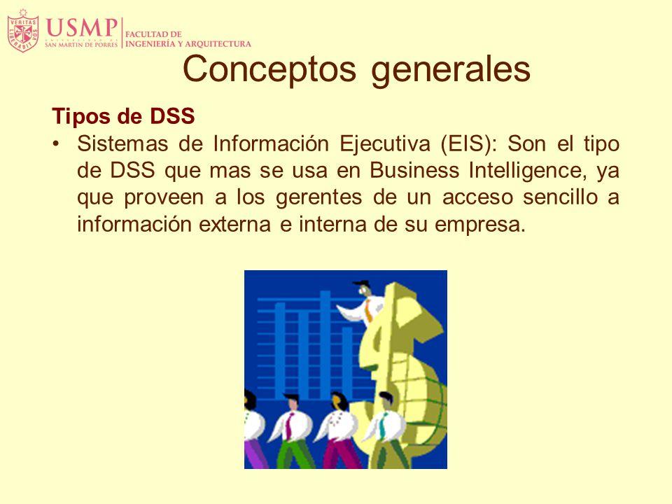 Tipos de DSS Sistemas de Información Ejecutiva (EIS): Son el tipo de DSS que mas se usa en Business Intelligence, ya que proveen a los gerentes de un