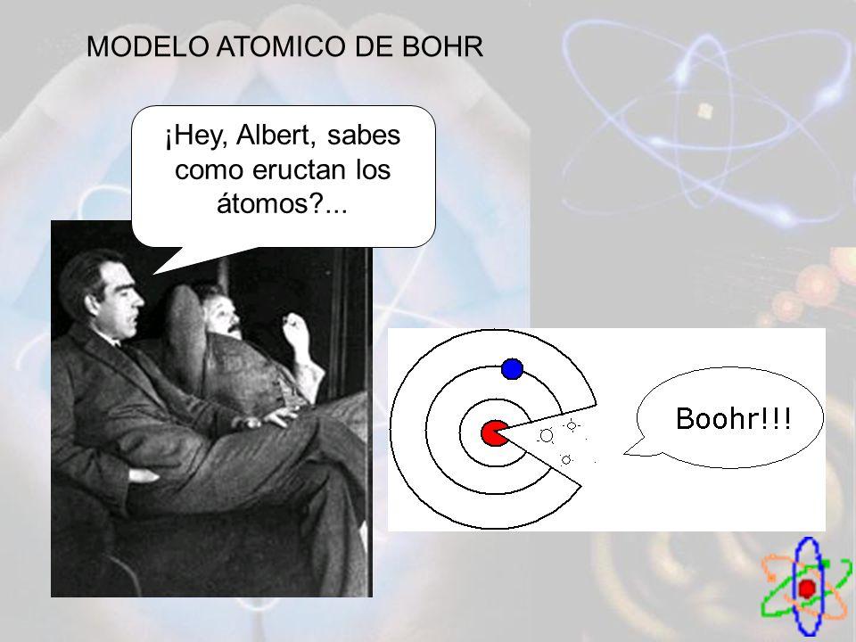 MODELO ATOMICO DE BOHR ¡Hey, Albert, sabes como eructan los átomos?...