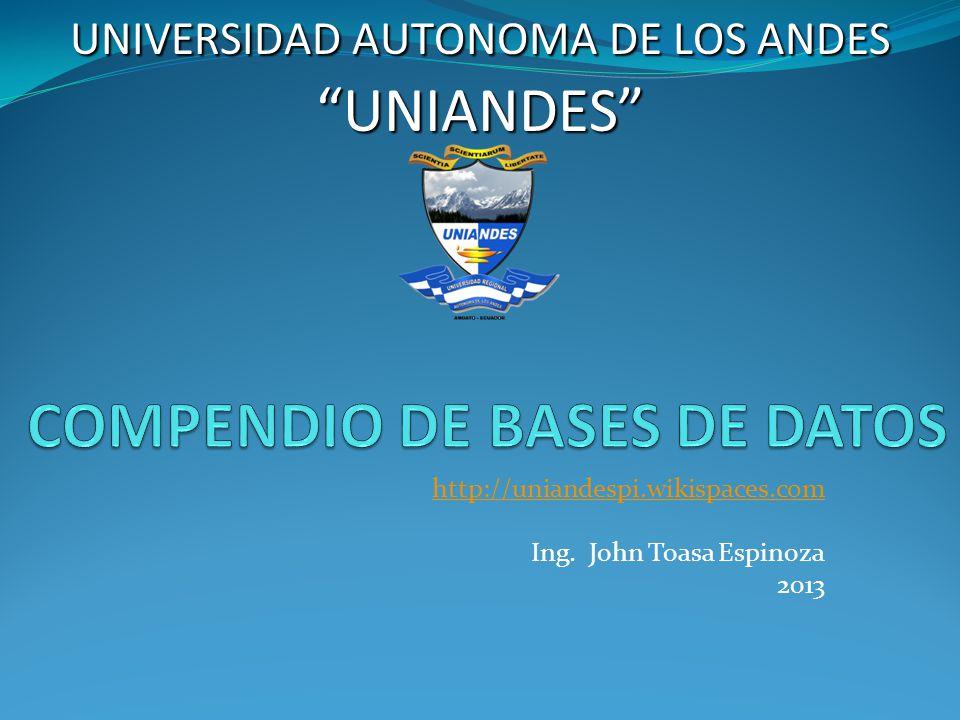 http://uniandespi.wikispaces.com Ing. John Toasa Espinoza 2013 UNIVERSIDAD AUTONOMA DE LOS ANDES UNIANDES