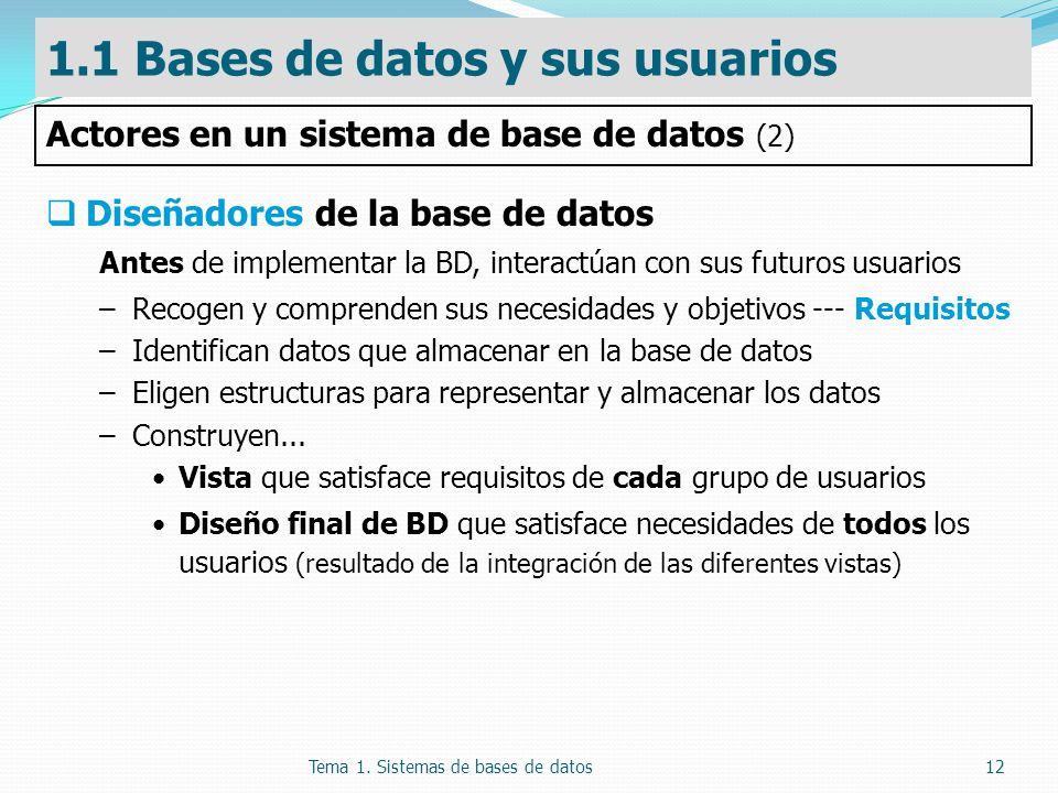 Tema 1. Sistemas de bases de datos12 Diseñadores de la base de datos Antes de implementar la BD, interactúan con sus futuros usuarios –Recogen y compr