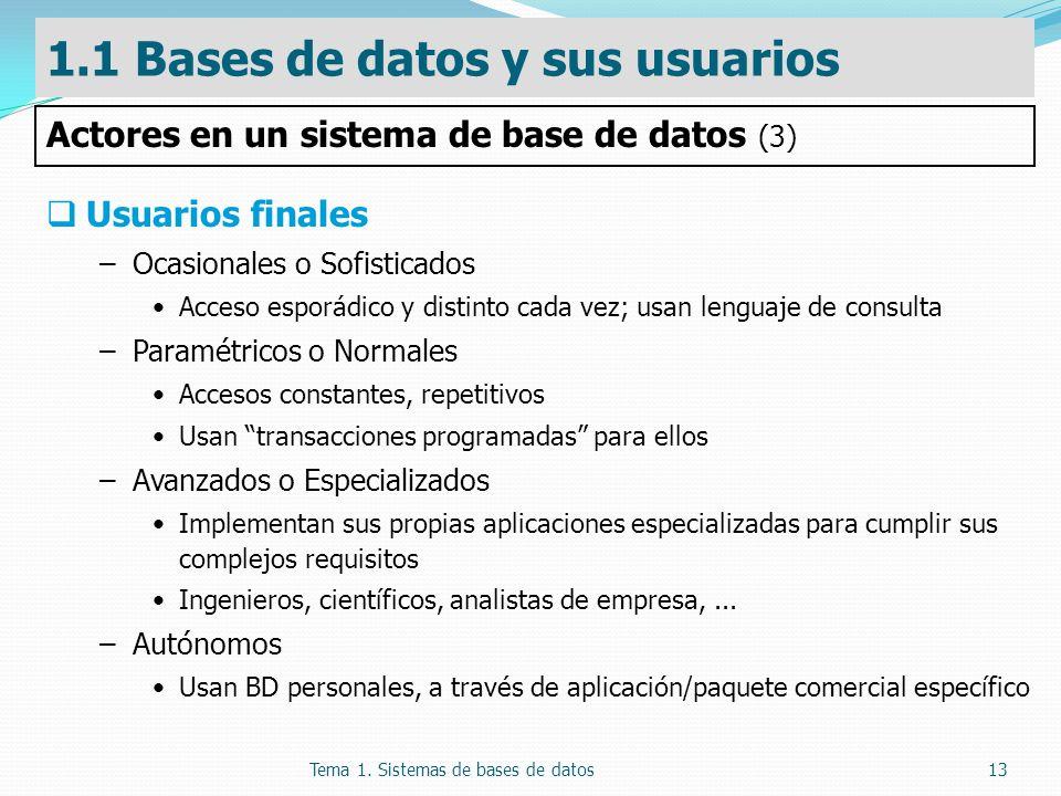 Tema 1. Sistemas de bases de datos13 Usuarios finales –Ocasionales o Sofisticados Acceso esporádico y distinto cada vez; usan lenguaje de consulta –Pa