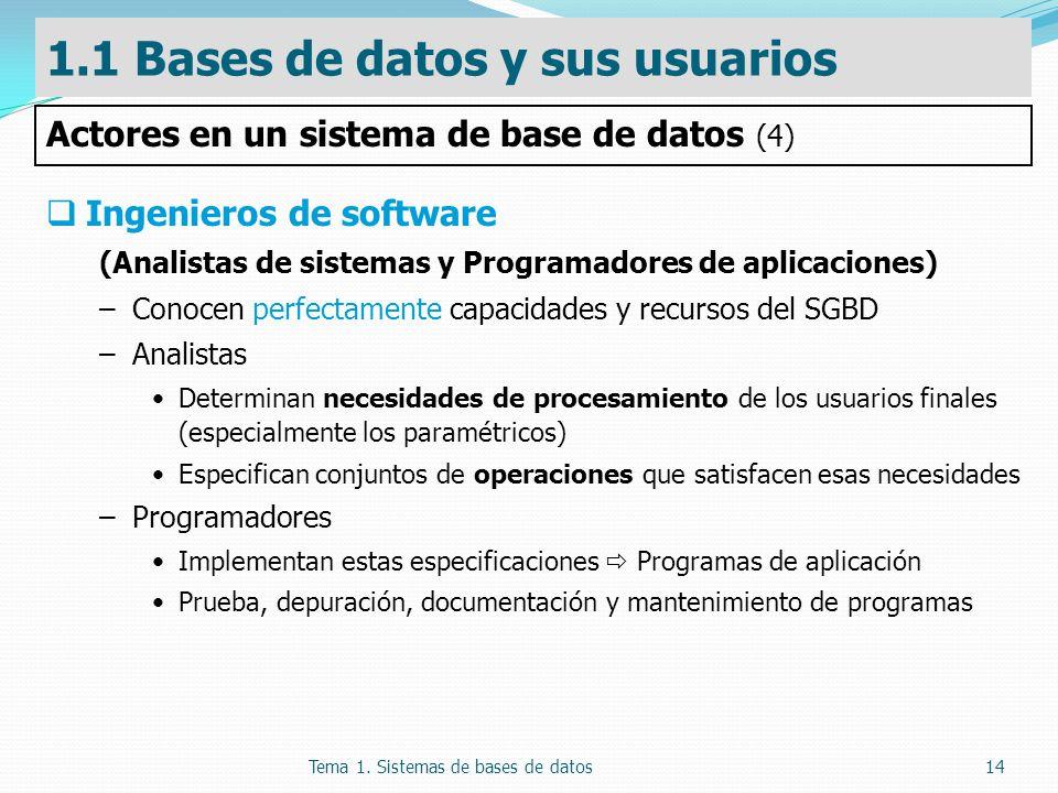 Tema 1. Sistemas de bases de datos14 Ingenieros de software (Analistas de sistemas y Programadores de aplicaciones) –Conocen perfectamente capacidades