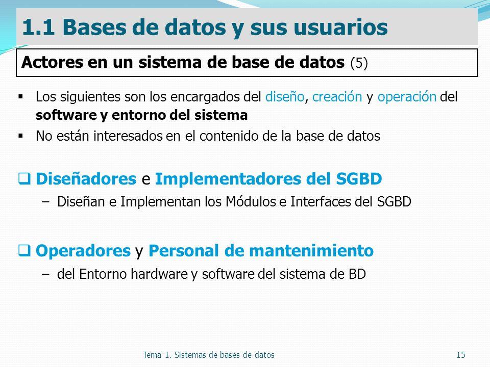Tema 1. Sistemas de bases de datos15 Los siguientes son los encargados del diseño, creación y operación del software y entorno del sistema No están in
