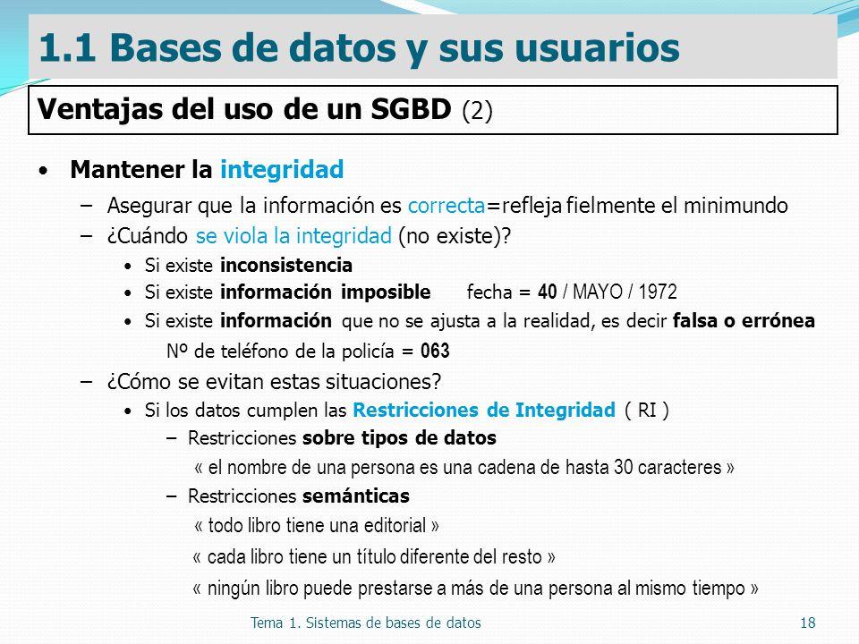 Tema 1. Sistemas de bases de datos18 Mantener la integridad –Asegurar que la información es correcta=refleja fielmente el minimundo –¿Cuándo se viola