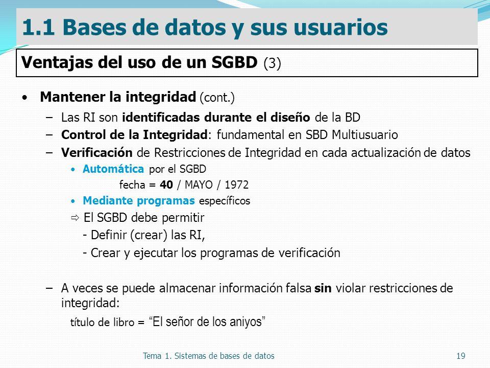 Tema 1. Sistemas de bases de datos19 Mantener la integridad (cont.) –Las RI son identificadas durante el diseño de la BD –Control de la Integridad: fu