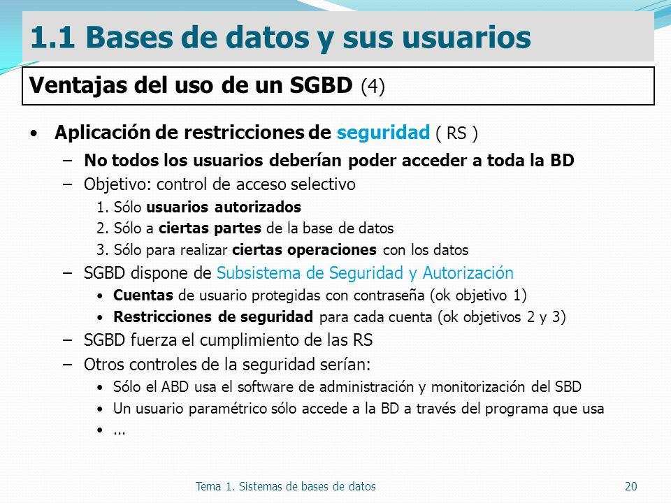 Tema 1. Sistemas de bases de datos20 Aplicación de restricciones de seguridad ( RS ) –No todos los usuarios deberían poder acceder a toda la BD –Objet