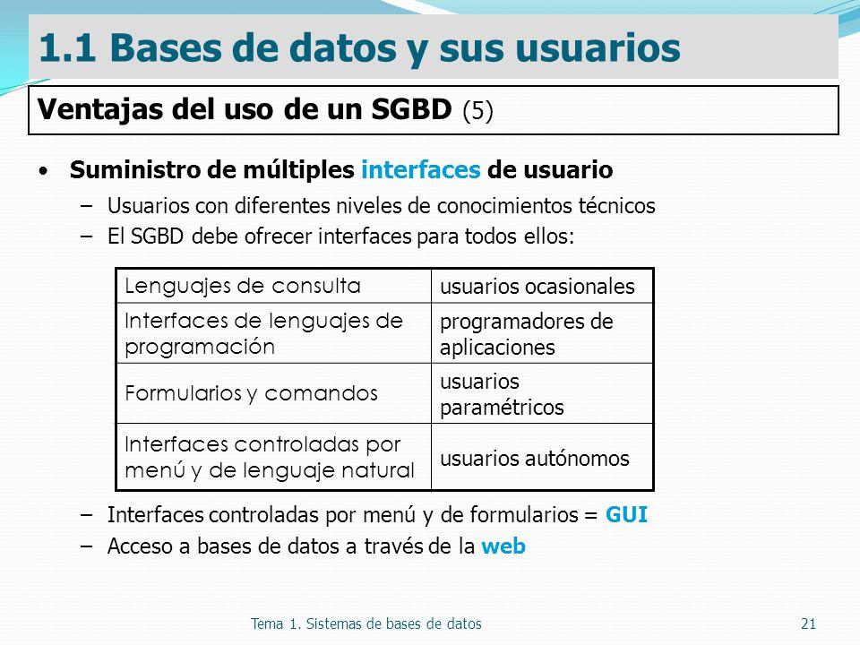 Tema 1. Sistemas de bases de datos21 Suministro de múltiples interfaces de usuario –Usuarios con diferentes niveles de conocimientos técnicos –El SGBD