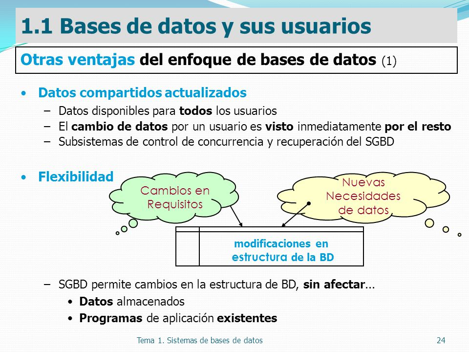 Tema 1. Sistemas de bases de datos24 Datos compartidos actualizados –Datos disponibles para todos los usuarios –El cambio de datos por un usuario es v