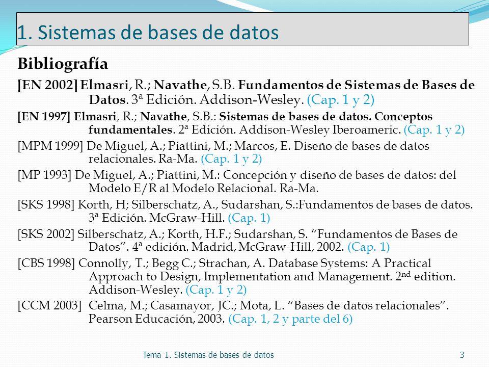 1. Sistemas de bases de datos Bibliografía [EN 2002] Elmasri, R.; Navathe, S.B. Fundamentos de Sistemas de Bases de Datos. 3ª Edición. Addison-Wesley.
