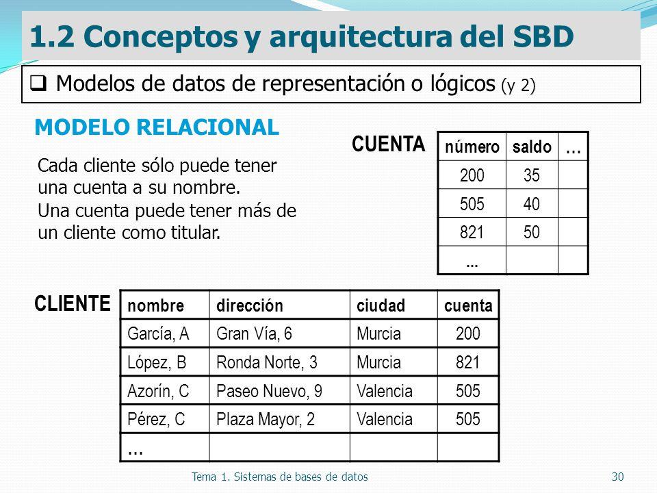 Tema 1. Sistemas de bases de datos30 MODELO RELACIONAL 1.2 Conceptos y arquitectura del SBD Modelos de datos de representación o lógicos (y 2) CLIENTE