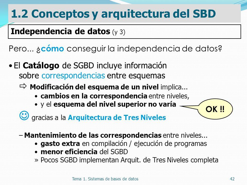 Tema 1. Sistemas de bases de datos42 Pero... ¿ cómo conseguir la independencia de datos? El Catálogo de SGBD incluye información sobre correspondencia