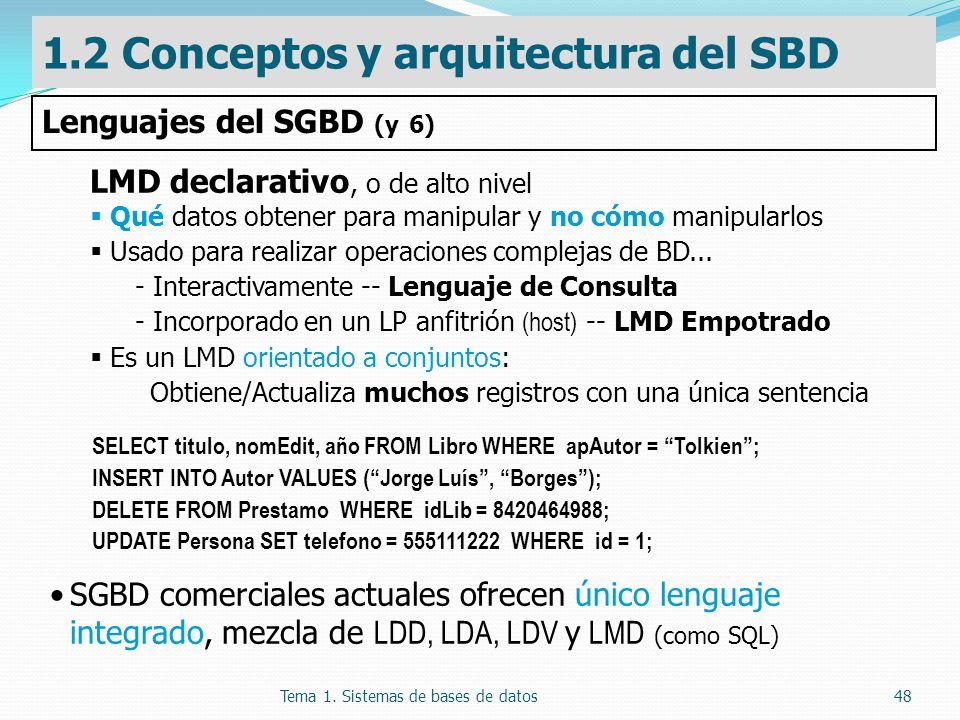 Tema 1. Sistemas de bases de datos48 LMD declarativo, o de alto nivel Qué datos obtener para manipular y no cómo manipularlos Usado para realizar oper