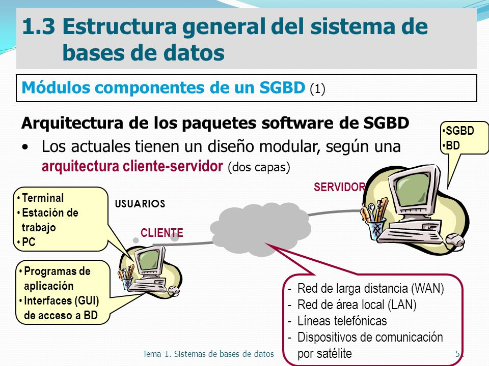 Tema 1. Sistemas de bases de datos51 Arquitectura de los paquetes software de SGBD Los actuales tienen un diseño modular, según una arquitectura clien