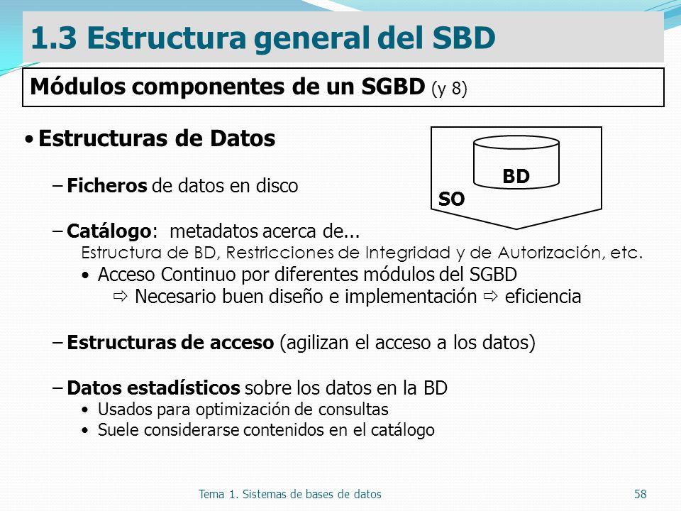 Tema 1. Sistemas de bases de datos58 Estructuras de Datos –Ficheros de datos en disco –Catálogo: metadatos acerca de... Estructura de BD, Restriccione