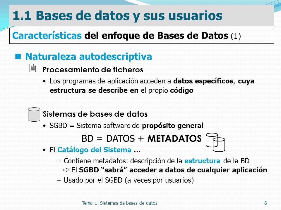 Tema 1. Sistemas de bases de datos8 Naturaleza autodescriptiva Procesamiento de ficheros Los programas de aplicación acceden a datos específicos, cuya