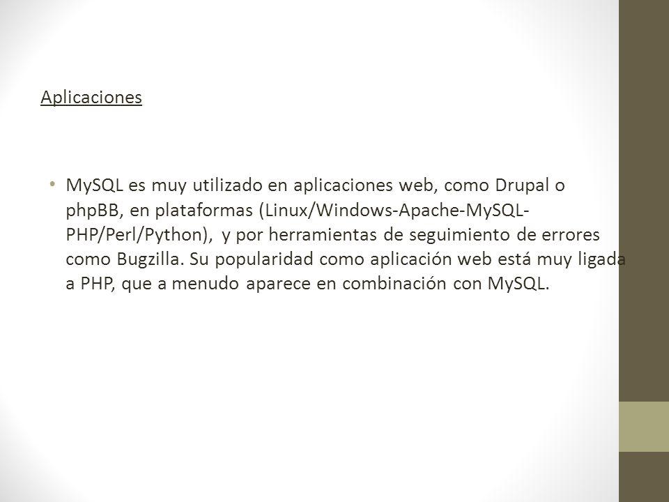 Aplicaciones MySQL es muy utilizado en aplicaciones web, como Drupal o phpBB, en plataformas (Linux/Windows-Apache-MySQL- PHP/Perl/Python), y por herramientas de seguimiento de errores como Bugzilla.